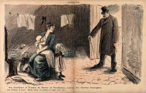 view A politician out canvassing curses himself for climbing six floors to the room of an impoverished mother and her young offspring, none of whom are electorally valuable. Colour photomechanical reproduction of a lithograph by N. Dorville, c. 1901.