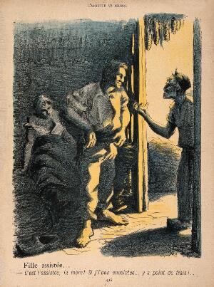 view A man looms over an old woman, telling her that it will not cost her anything if he has made her daughter pregnant, as she is on welfare support: the daughter lies dishevelled in the background. Colour photomechanical reproduction of lithograph by N. Dorville, c. 1902.