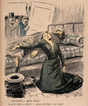 view A family is discovered dead from starvation after waiting for welfare assistance. Colour photomechanical reproduction of a lithograph by N. Dorville, c. 1901.