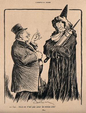 view A gentleman compares the size of his syringe with a physician's clyster; he says that his is for the other side of the body. Process print after J-A. Faivre, 1902.
