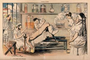 view A surgeon loses his wedding ring inside the body of a female patient. Colour process print after J-A. Faivre, 1902.