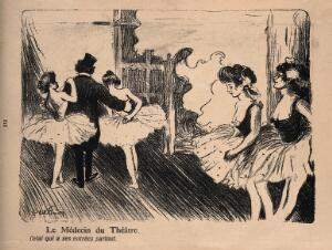 view A doctor goes off gallivanting with two young dancers. Colour process print after by J-A. Faivre, 1902.