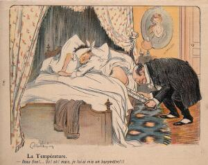 """view A doctor inserts a barometer, instead of a thermometer, in a patient's backside: his condition reads """"Set fair"""". Colour process print after J-A. Faivre, 1902."""