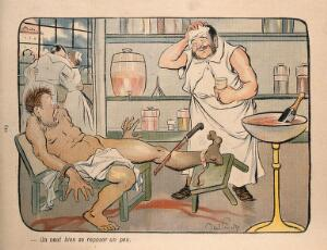 view A surgeon apologetically takes a breather during an amputation operation: a bottle of champagne waits in a cooler; a doctor and nurse canoodle while the patient screams. Colour process print after J.-A. Faivre, 1902.