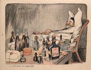 view An ailing old man surrounded by medicine bottles and cases moans that his doctor has not given him enough medicine. Colour process print after J-A. Faivre, 1902.
