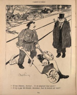 view A railway employee (?) wheels away the dismembered body of a man killed in a railway accident; he converses with a physician. Process print after J-A. Faivre, 1902.