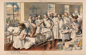 view Surgeons group around a patient exhibiting an especially dramatic anal fistula; the patient happily thinks to himself that he has never before been the object of such attention. Colour process print after J-A. Faivre, 1902.