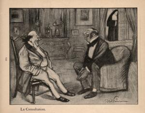 view A doctor and his patient laugh during a consultation; behind, a nun stands by the door. Process print after J-A. Faivre, 1902.