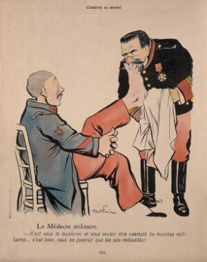 view A military physician examines a bandsman who has a poorly foot and cannot march in time. Colour process print after J-A. Faivre, 1902.
