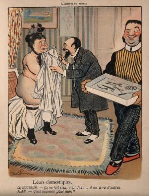 view An embarrassed female patient is caught undressed by a leering medical assistant. Colourprocess print after J-A. Faivre, 1902.