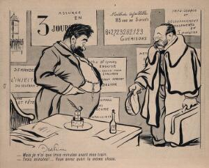 view A quack claims he can cure a man in the three minutes before his train leaves. Process print after J-A. Faivre, 1902.