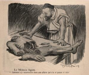 view A forensic surgeon wonders where to begin with a headless corpse. Process print after J-A. Faivre, 1902.