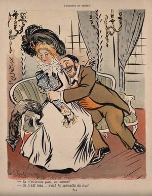 view A physician molests a young lady. Colour process print after J-A. Faivre, 1902.