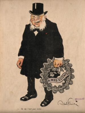 view A physician carries an anonymous, re-usable wreath 'to his clients'. Colour process print after J-A. Faivre, 1902.