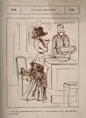 view A lady buys some black garters to cheer up her sick husband. Wood engraving, c. 1900.
