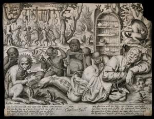 view A sleeping pedlar's posterior is examined by monkeys, who play with his goods. Line engraving after P. van Harlingen after P. Bruegel, c. 1610.