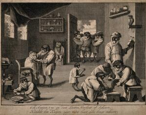 view A barber-surgeon's house, where monkeys shave cats and let blood. Line engraving, c. 1660, after D. Teniers II.