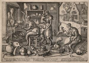view An alchemist's laboratory inhabited by monkeys: to the right they are shown calling at the poorhouse, destitute after their obsessive, fruitless experiments. Etching by P. van der Borcht, ca. 1580.