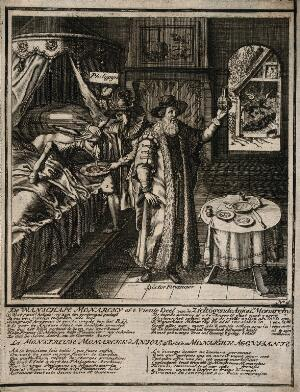view 'Philijpÿn' helps a donkey to vomit while a 'Doctor Financier' examines a urine sample;; representing the state of Spain under the monarchy of King Philip V. Etching attributed to A. Allard, 1711.