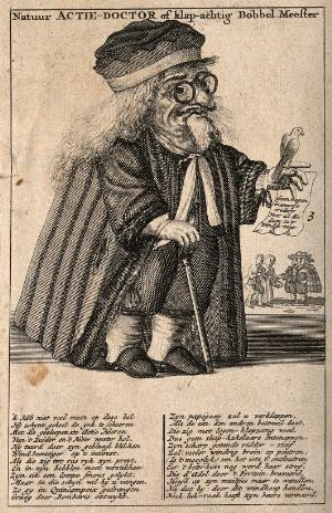 view A caricature of a Dutch physician involved in share dealing in the Dutch speculation explosion of 1720. Etching, 1720.
