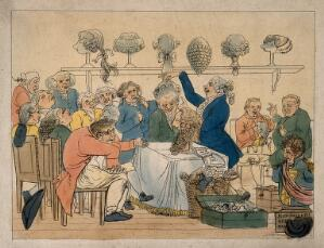 view In a crowded salon, a wigmaker fits wigs according to occupation; representing the character stereotyping of Gall's phrenology. Coloured etching by J.E. Marcus after J. Smies, c. 1810.