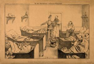 view The Dutch minister Bergansius and Hendrik Pieter Tindal visit an influenza hospital populated with representations of the countries of Europe; Bergansius points to the Dutch representative, attempting to persuade the apocalyptic Tindal that all is indeed well. Reproduction of a lithograph by J. Braakensiek, 1889.