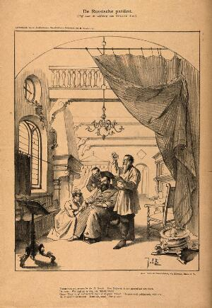 view The sick tsar Alexander III attended by Pobedonostsev, head of the Russian Orthodox church, Tolstoy and the mascot of the French republic; representing the difference between Russia's internal problems and the enthusiasm of France following the Franco-Russian alliance. Reproduction of a lithograph by J. Braakensiek, 1891.