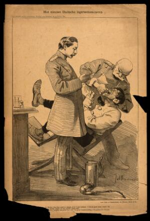 view A German military dentist pulls a tooth from an agonised soldier. Reproduction of a lithograph by J. Braakensiek, 1892.