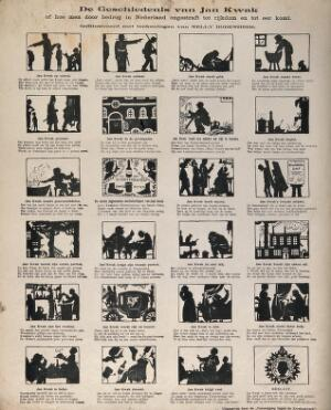 view A life in 24 silhouettes of Jan Kwak, a successful quack-doctor. Reproduction of a wood engraving by N. Bodenheim, c. 1900.