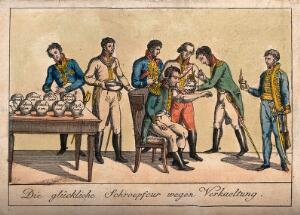 view One of a group of soldiers has his arm cupped; representing the political situation of France in relation to the German states. Coloured etching, 1820.