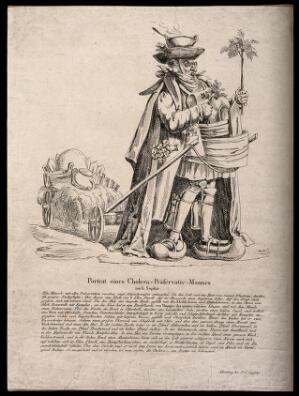 view A man absurdly well-prepared for the cholera epidemic of 1832; representing the overabundance of questionable remedies and protections against cholera. Etching, c. 1832.