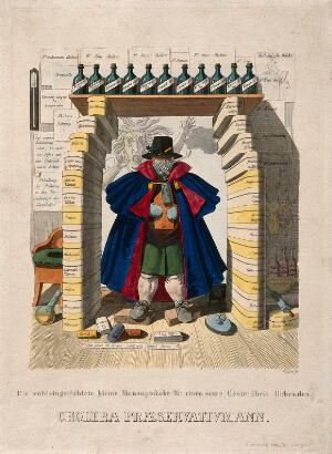 view A man barricades himself in with a panoply of protections against the cholera epidemic, the latter represented as a hag; representing an overabundance of useless advice concerning protection against cholera. Coloured etching by J.B. Wunder, c. 1832.