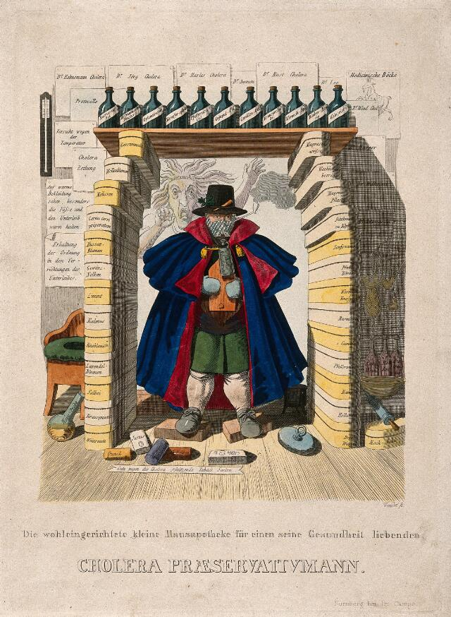 A man barricades himself in with a panoply of protections against the cholera epidemic, the latter represented as a hag; representing an overabundance of useless advice concerning protection against cholera. Coloured etching by J.B. Wunder, c. 1832.