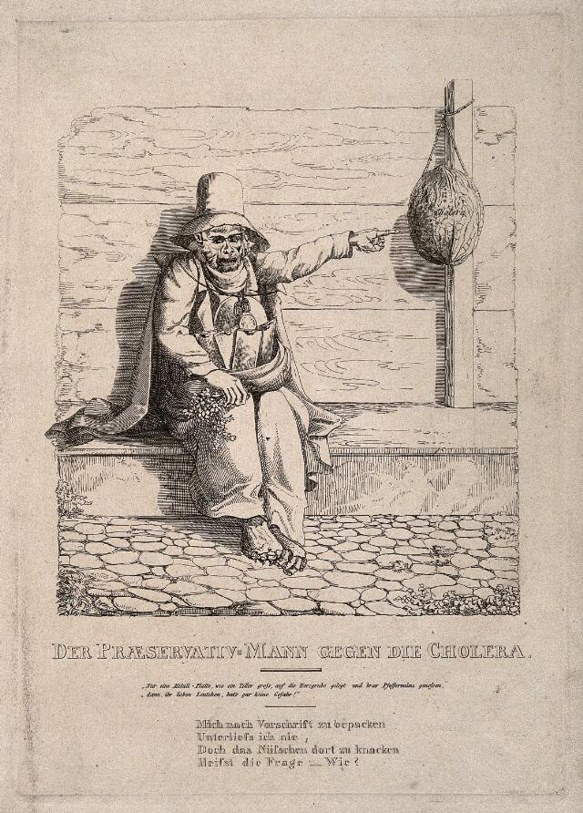 A monkey dressed in preparation against the cholera epidemic. Etching, c. 1832.