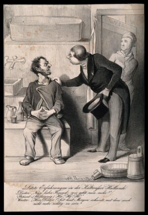 view A physician discovers that the patient to whom he has administered hydrotherapy has developed 'water on the brain'. Lithograph by Brandl, c. 1850.