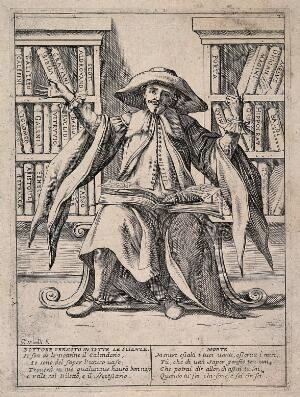 view An omniscient virtuoso gestures boastfully at all the knowledge that lies available to him. Etching by G.M. Mitelli, c. 1700.