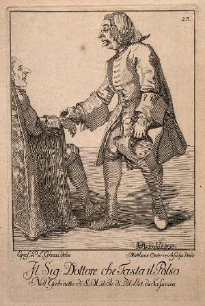 view A doctor takes the pulse of a patient. Etching by M. Österreich, 1750, after P.L. Ghezzi.