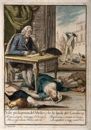 view A doctor surrounded by four dead bodies writes out a prescription at a table, while to the right a man puts his sword into his scabbard after killing a man; indicating that the pen of the physician is mightier than the sword of the knight. Coloured etching after G. Piattoli.
