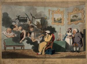 view A hypochondriac surrounded by doleful spectres. Coloured etching by T. Rowlandson after J. Dunthorne, 1788.