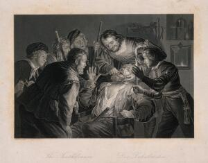 view A tooth-drawer in his practice extracting a tooth from a seated patient who is surrounded by friends and family holding candles. Engraving by D.J. Pound after G. van Honthorst.