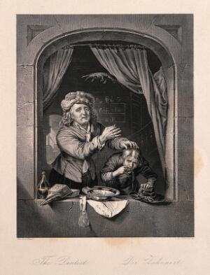 view A tooth-drawer holding up a tooth after extracting it from a patient, who is spitting blood out of the window. Engraving by D.J. Pound after G. Dou, 1672.
