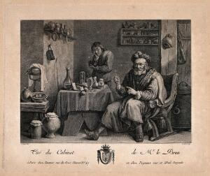 view A tooth-drawer proudly holding up a tooth he has just extracted, the patient holding his jaw in the background. Engraving by J. Le Bas after D. Teniers II.