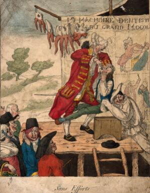 view A foppish dentist on stage extracting a tooth from a patient who is being restrained by a man dressed as Pierrot. Coloured etching by A. Auger, 1817.