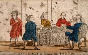 view A man squirting a clyster in to somebody's mouth in order to cure his toothache, at a dinner table. Coloured etching.