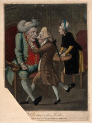 view A 'dentiste' extracting the tooth of a large well dressed gentleman. Coloured mezzotint by J. Wilson after himself, 1773.