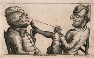 view A tooth-drawer using a cord to extract a tooth from an agonized patient. Etching by J. Collier, 1773.