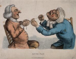 view A tooth-drawer using a cord to extract a tooth from an agonized patient. Coloured engraving by J. Collier, 1810, after himself, 1773.