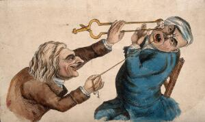 view A tooth-drawer frightening his patient with a hot coal causing him to pull away violently and extract a tooth. Coloured etching, 1810, after J. Collier.