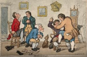 view A tooth-drawer with 'lightness of hand' extracting a tooth from a protesting patient, amidst the chaos of his practice. Coloured etching after H.W. Bunbury.