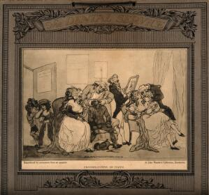 view A fashionable dentist's practice where teeth are being extracted from poor children in order to create dentures for wealthy people. Reproduction of an aquatint after T. Rowlandson, 1787.